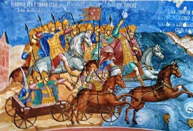 il passsaggio del mar rosso affresco degli anni 1640 a Jaroslavl', in Russia - Copia