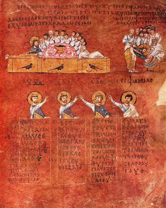 la mia e paolo L'ultima cena. I personaggi sotto l'illustrazione sono i profeti che hanno predetto l'episodio evangelico.